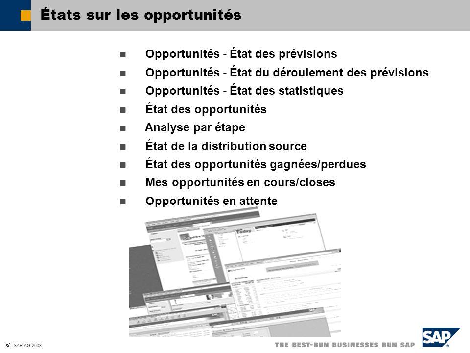 SAP AG 2003 États sur les opportunités Opportunités - État des prévisions Opportunités - État du déroulement des prévisions Opportunités - État des st