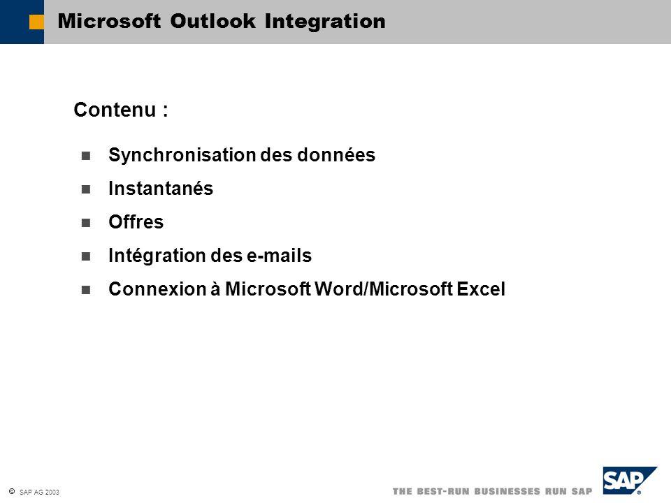 SAP AG 2003 Synchronisation des données Instantanés Offres Intégration des e-mails Connexion à Microsoft Word/Microsoft Excel Contenu : Microsoft Outl