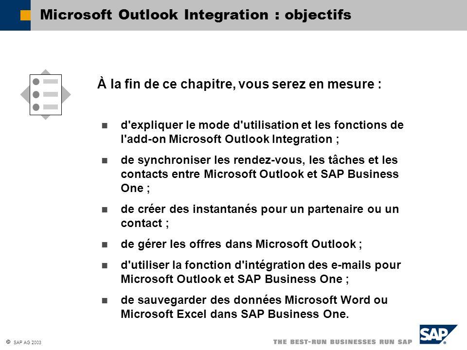 SAP AG 2003 À la fin de ce chapitre, vous serez en mesure : Microsoft Outlook Integration : objectifs d'expliquer le mode d'utilisation et les fonctio