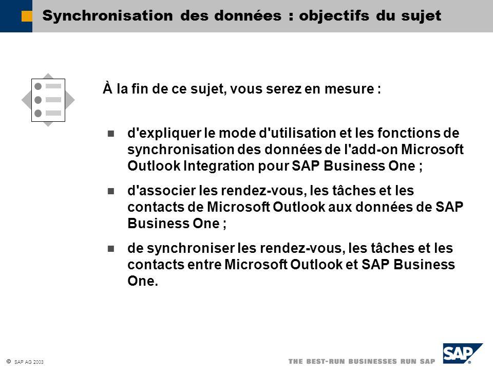 SAP AG 2003 d'expliquer le mode d'utilisation et les fonctions de synchronisation des données de l'add-on Microsoft Outlook Integration pour SAP Busin