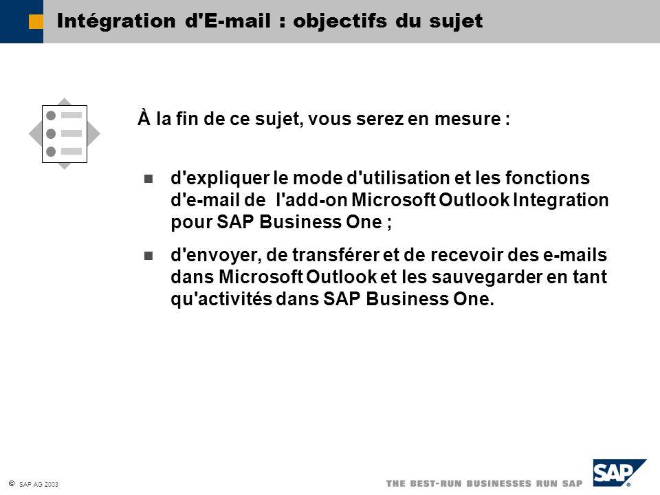 SAP AG 2003 d'expliquer le mode d'utilisation et les fonctions d'e-mail de l'add-on Microsoft Outlook Integration pour SAP Business One ; d'envoyer, d