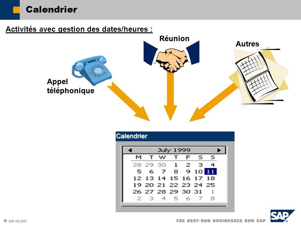 SAP AG 2003 Calendrier Calendrier Appel téléphonique Réunion Autres Activités avec gestion des dates/heures : Calendrier Appel téléphonique Réunion Au