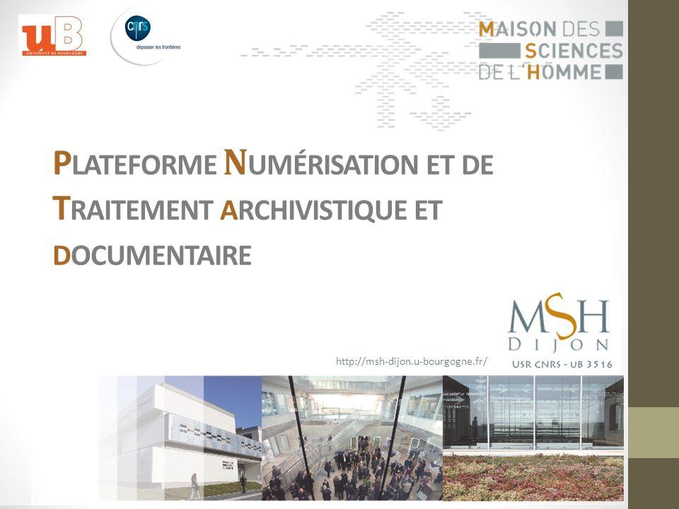Le résultat de lensemble du travail réalisé par la plateforme de la MSH de Dijon (instruments de recherche, catalogues électroniques et documents numérisés) est mis en ligne sur internet et librement accessible via le Portail Archives Numériques et Données de la Recherche (PANDOR).