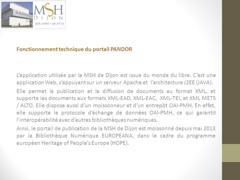 Fonctionnement technique du portail PANDOR Lapplication utilisée par la MSH de Dijon est issue du monde du libre. Cest une application Web, sappuyant
