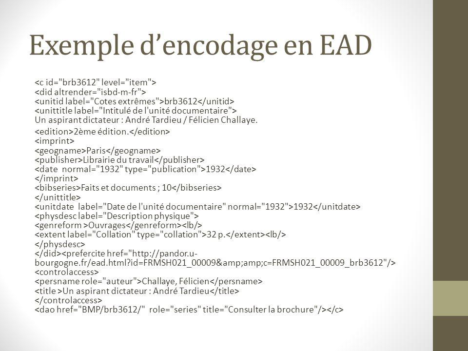 Exemple dencodage en EAD brb3612 Un aspirant dictateur : André Tardieu / Félicien Challaye. 2ème édition. Paris Librairie du travail 1932 Faits et doc