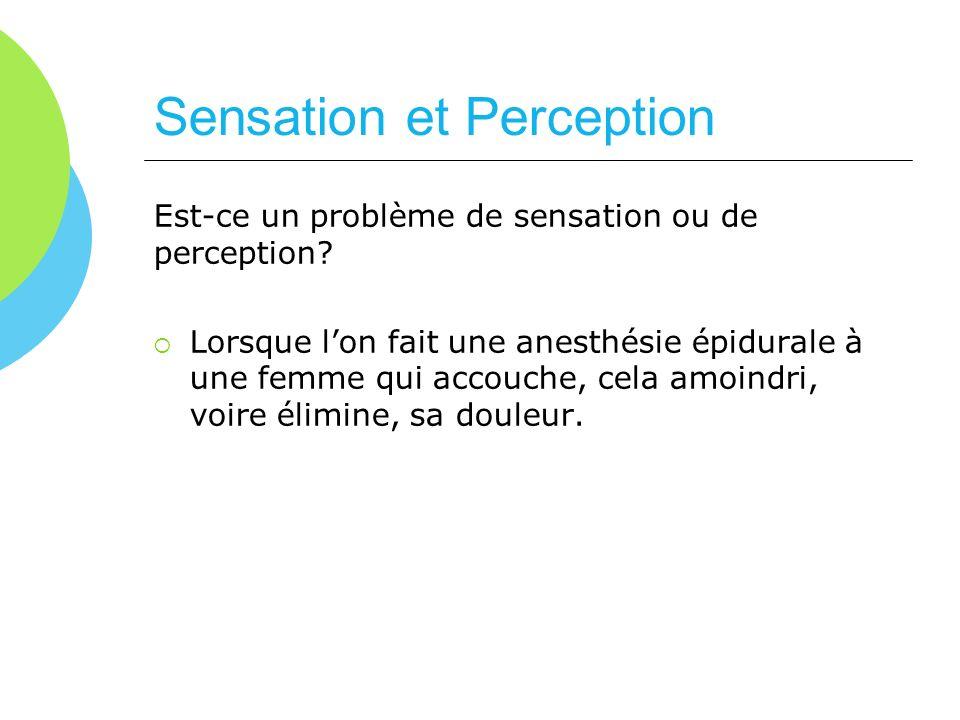 Est-ce un problème de sensation ou de perception? Lorsque lon fait une anesthésie épidurale à une femme qui accouche, cela amoindri, voire élimine, sa