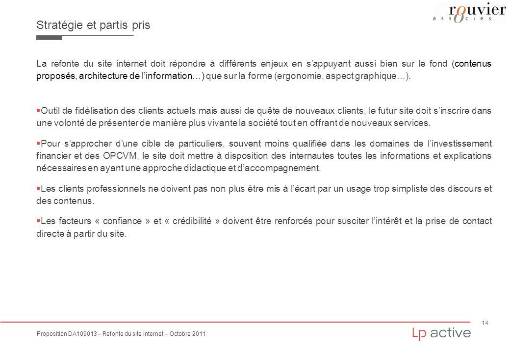 14 Proposition DA109013 – Refonte du site internet – Octobre 2011 Stratégie et partis pris La refonte du site internet doit répondre à différents enje
