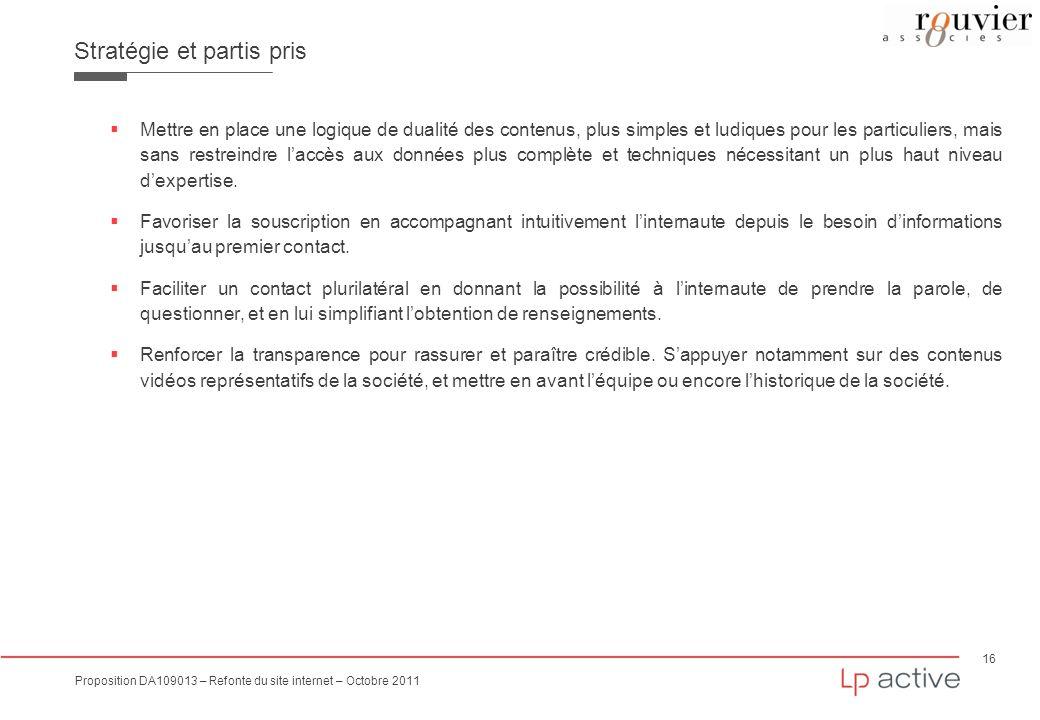 16 Proposition DA109013 – Refonte du site internet – Octobre 2011 Stratégie et partis pris Mettre en place une logique de dualité des contenus, plus s