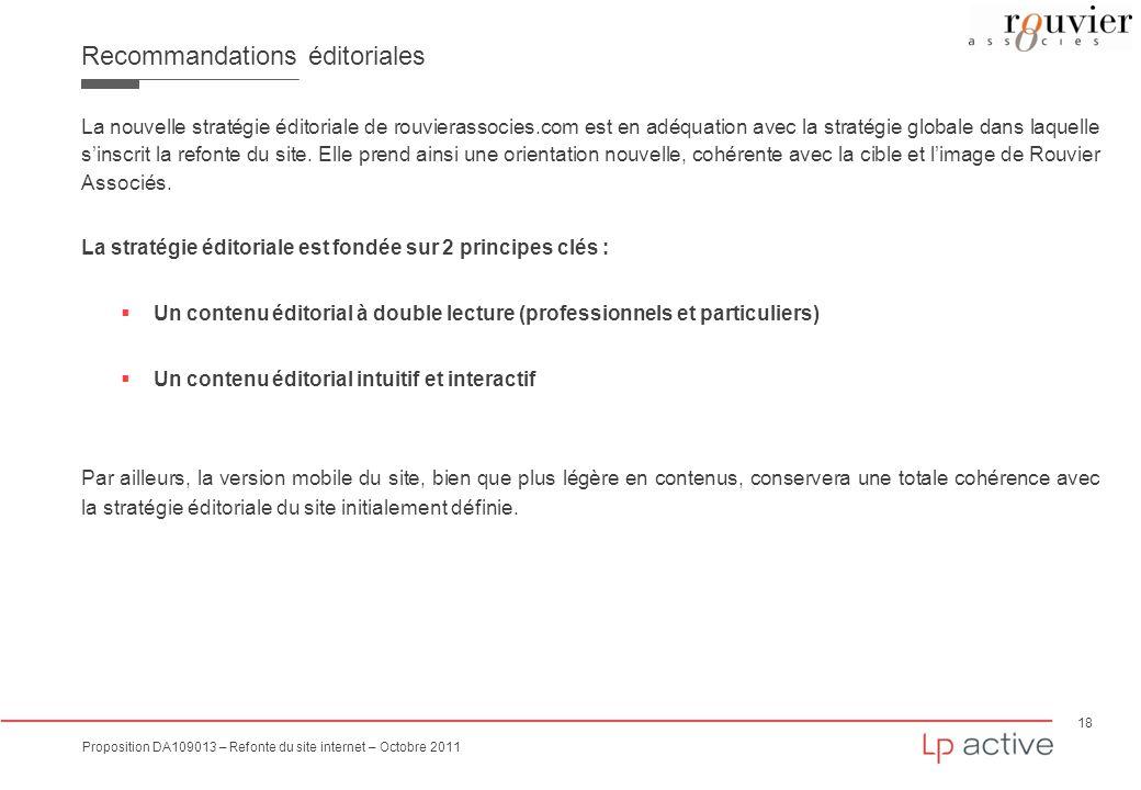 18 Proposition DA109013 – Refonte du site internet – Octobre 2011 Recommandations éditoriales La nouvelle stratégie éditoriale de rouvierassocies.com