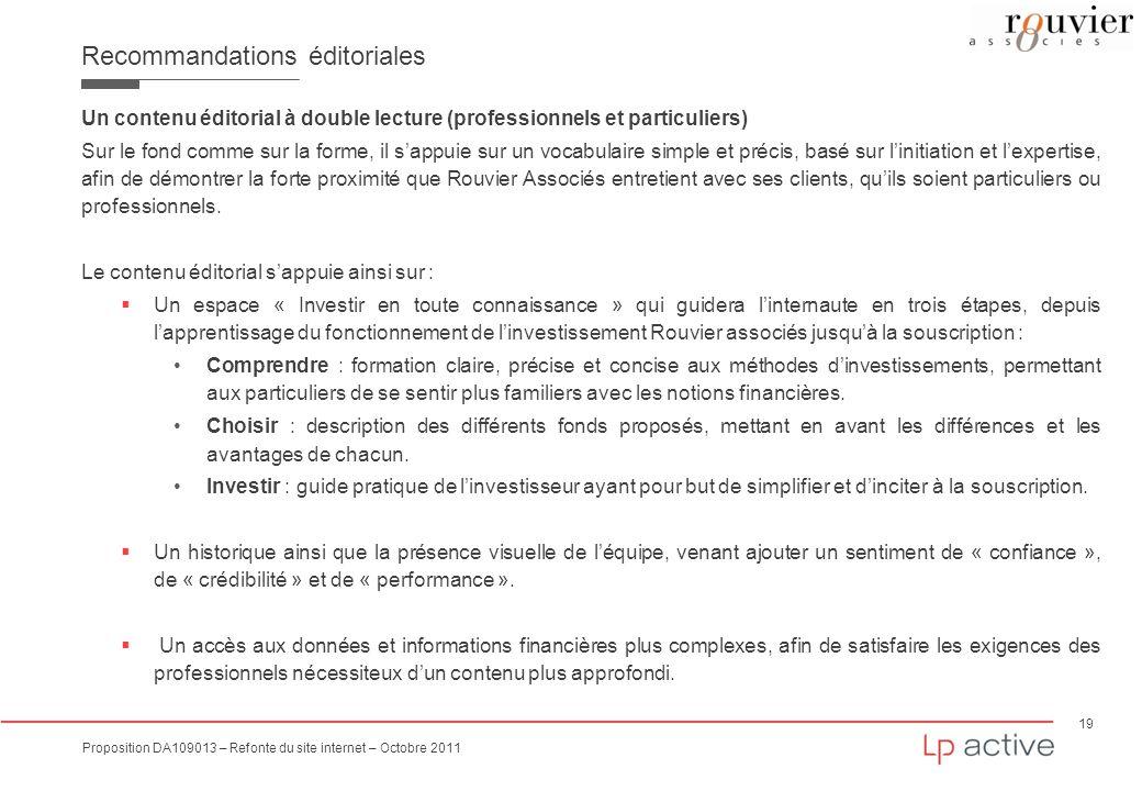 19 Proposition DA109013 – Refonte du site internet – Octobre 2011 Recommandations éditoriales Un contenu éditorial à double lecture (professionnels et