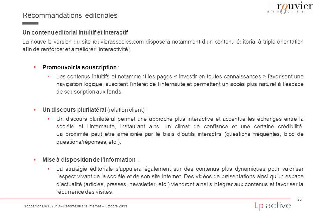 20 Proposition DA109013 – Refonte du site internet – Octobre 2011 Recommandations éditoriales Un contenu éditorial intuitif et interactif La nouvelle
