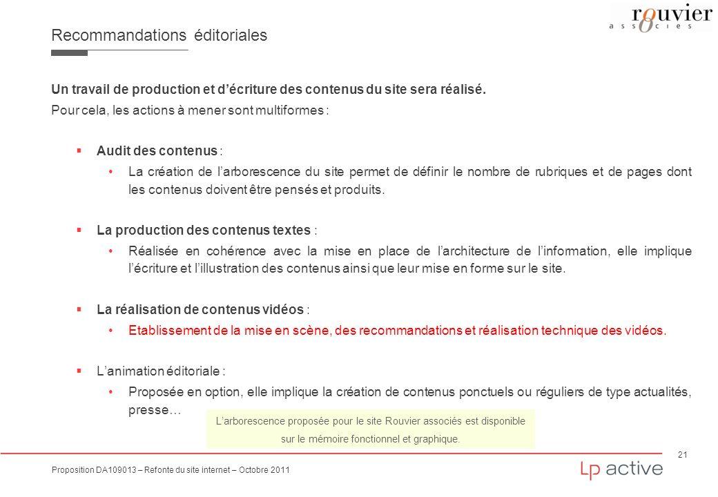 21 Proposition DA109013 – Refonte du site internet – Octobre 2011 Recommandations éditoriales Un travail de production et décriture des contenus du si