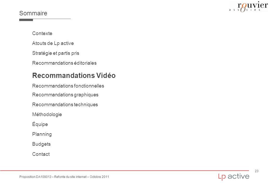 23 Proposition DA109013 – Refonte du site internet – Octobre 2011 Sommaire Contexte Atouts de Lp active Stratégie et partis pris Recommandations édito