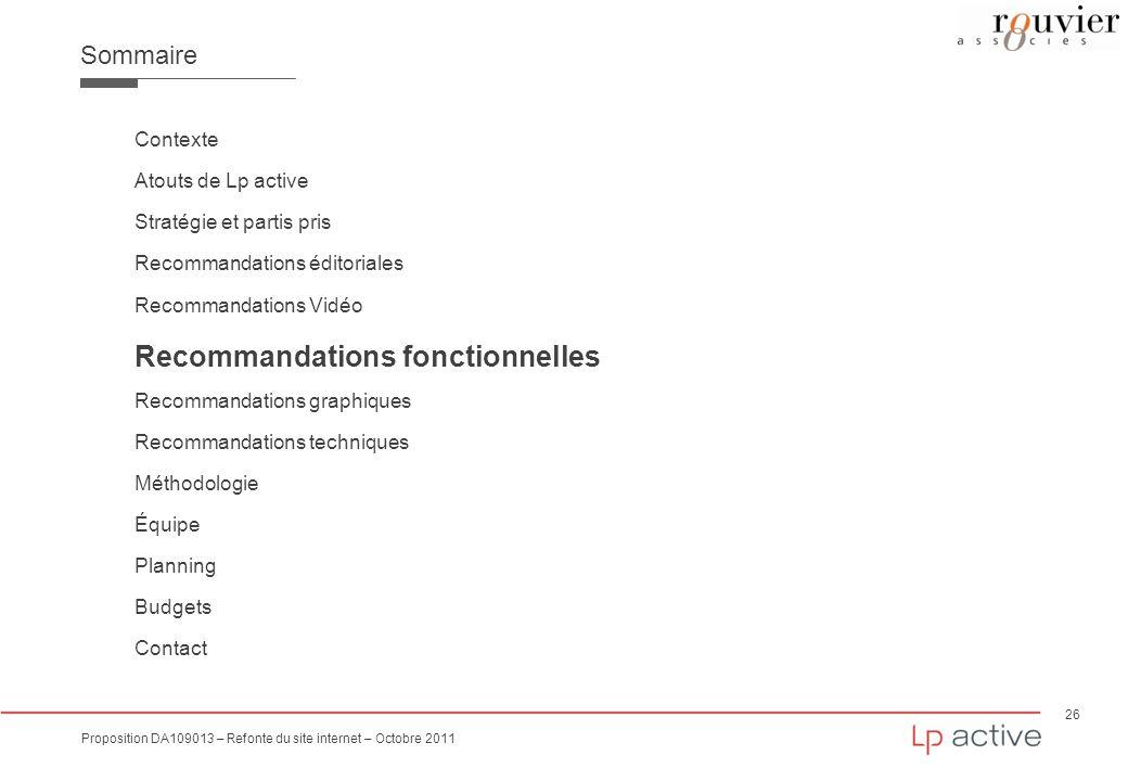 26 Proposition DA109013 – Refonte du site internet – Octobre 2011 Sommaire Contexte Atouts de Lp active Stratégie et partis pris Recommandations édito