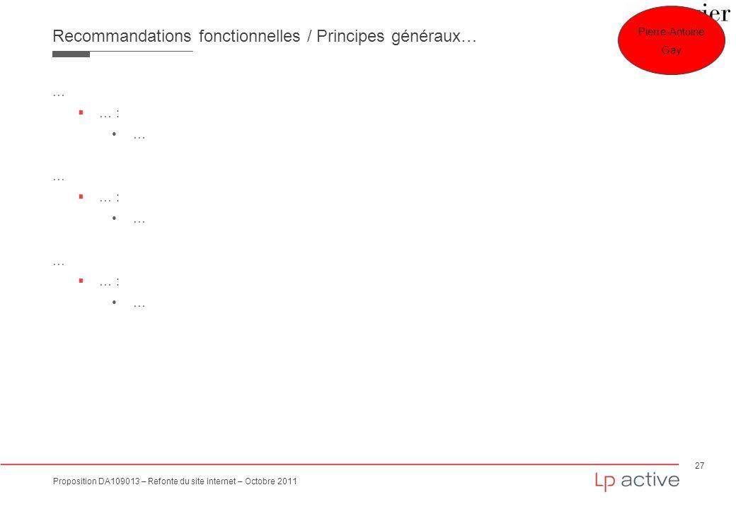 27 Proposition DA109013 – Refonte du site internet – Octobre 2011 Recommandations fonctionnelles / Principes généraux… … … : … … : … … : … Mise en ava