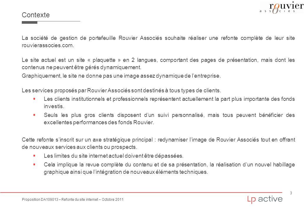 3 Proposition DA109013 – Refonte du site internet – Octobre 2011 Contexte La société de gestion de portefeuille Rouvier Associés souhaite réaliser une
