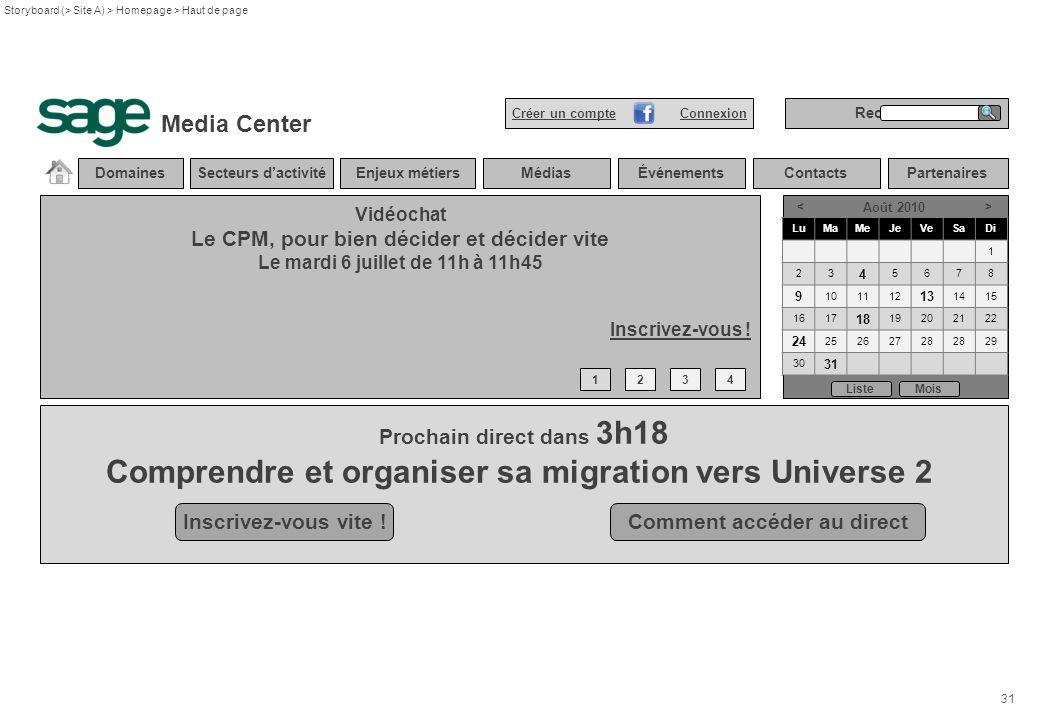 31 Storyboard (> Site A) > Homepage > Haut de page DomainesSecteurs dactivitéEnjeux métiersMédiasÉvénements Vidéochat Le CPM, pour bien décider et déc