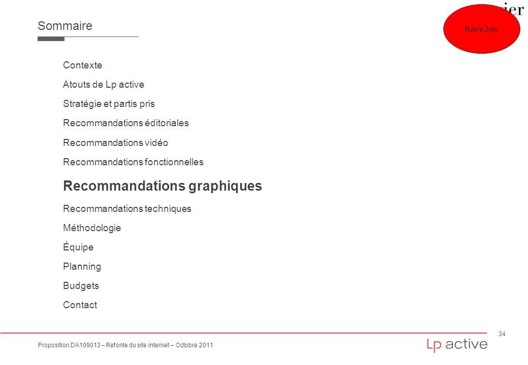 34 Proposition DA109013 – Refonte du site internet – Octobre 2011 Sommaire Contexte Atouts de Lp active Stratégie et partis pris Recommandations édito