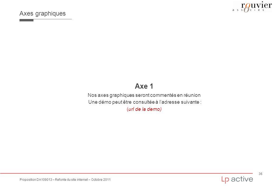36 Proposition DA109013 – Refonte du site internet – Octobre 2011 Axes graphiques Axe 1 Nos axes graphiques seront commentés en réunion Une démo peut