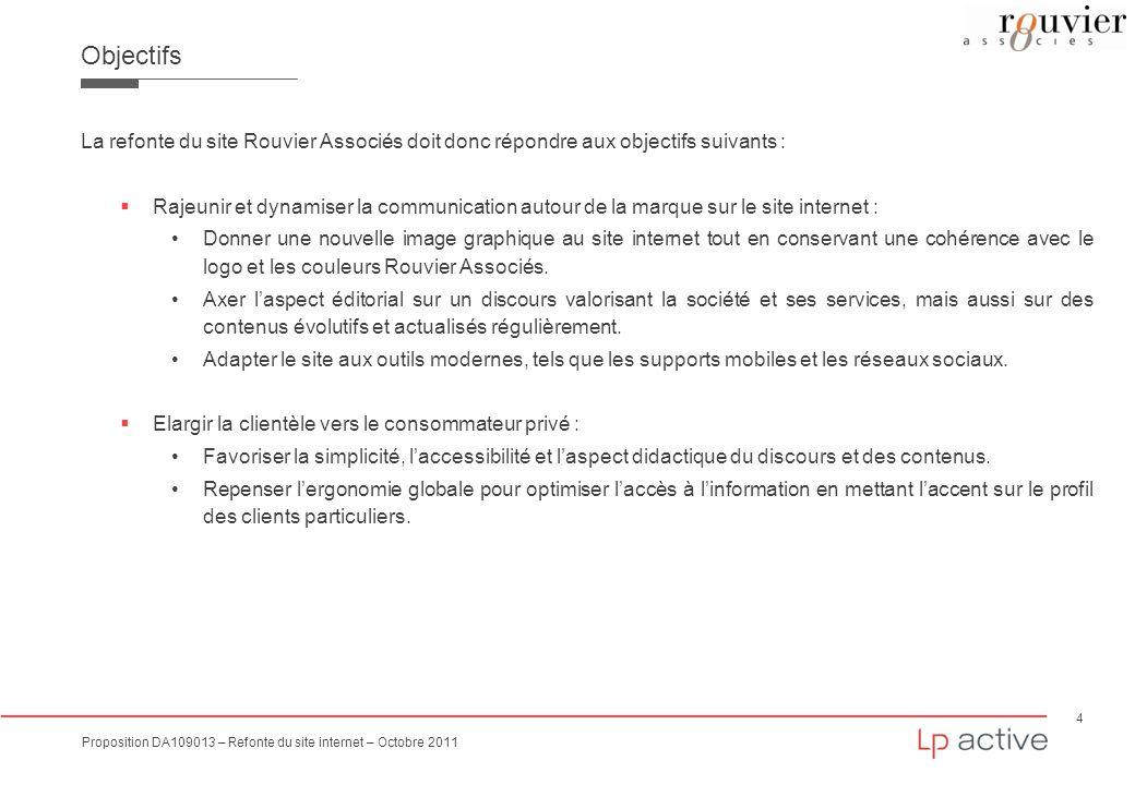 4 Proposition DA109013 – Refonte du site internet – Octobre 2011 Objectifs La refonte du site Rouvier Associés doit donc répondre aux objectifs suivan