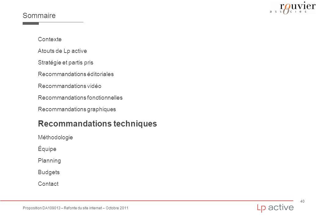40 Proposition DA109013 – Refonte du site internet – Octobre 2011 Sommaire Contexte Atouts de Lp active Stratégie et partis pris Recommandations édito