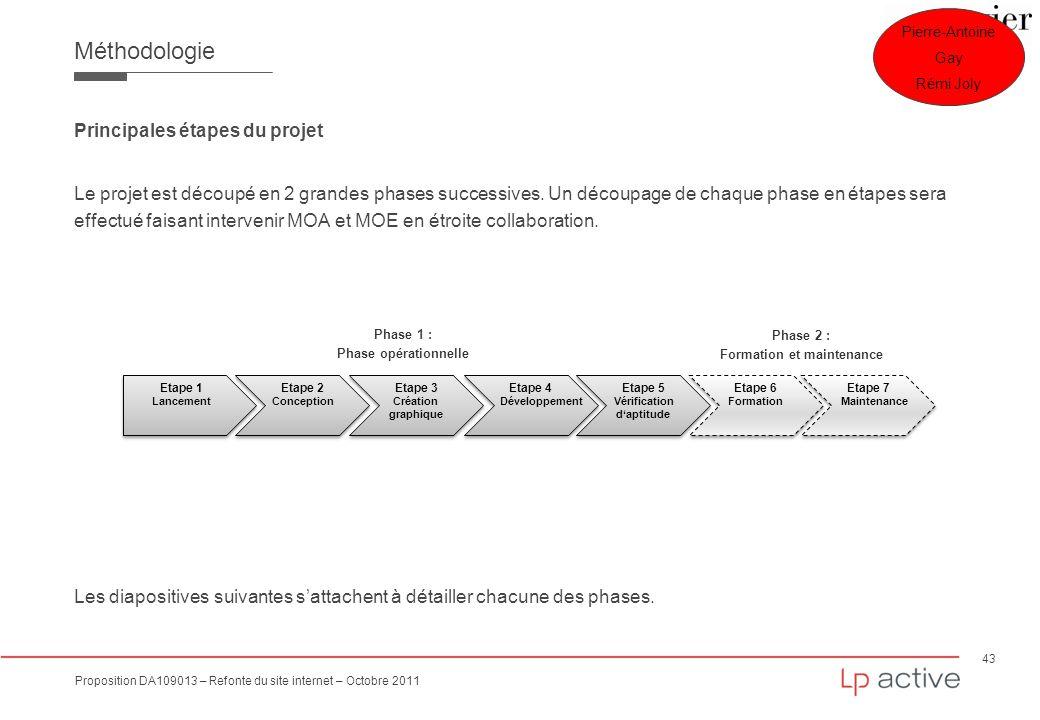 43 Proposition DA109013 – Refonte du site internet – Octobre 2011 Méthodologie Principales étapes du projet Le projet est découpé en 2 grandes phases