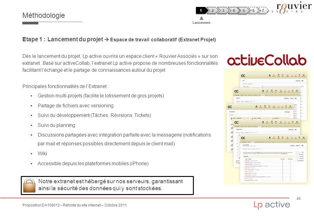 45 Proposition DA109013 – Refonte du site internet – Octobre 2011 Méthodologie Etape 1 : Lancement du projet Espace de travail collaboratif (Extranet