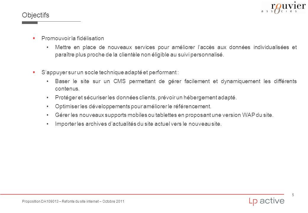 5 Proposition DA109013 – Refonte du site internet – Octobre 2011 Objectifs Promouvoir la fidélisation Mettre en place de nouveaux services pour amélio