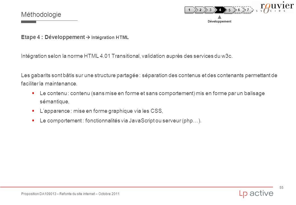 55 Proposition DA109013 – Refonte du site internet – Octobre 2011 Méthodologie Etape 4 : Développement Intégration HTML Intégration selon la norme HTM