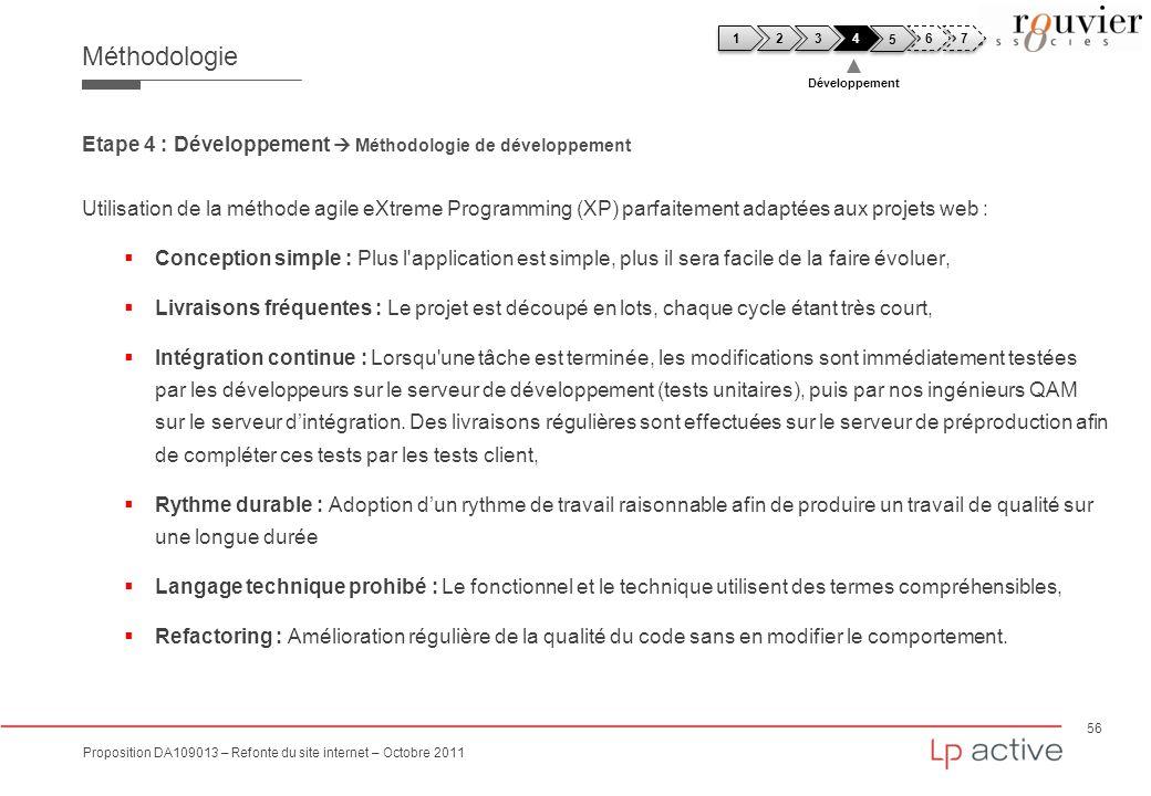 56 Proposition DA109013 – Refonte du site internet – Octobre 2011 Méthodologie Etape 4 : Développement Méthodologie de développement Utilisation de la