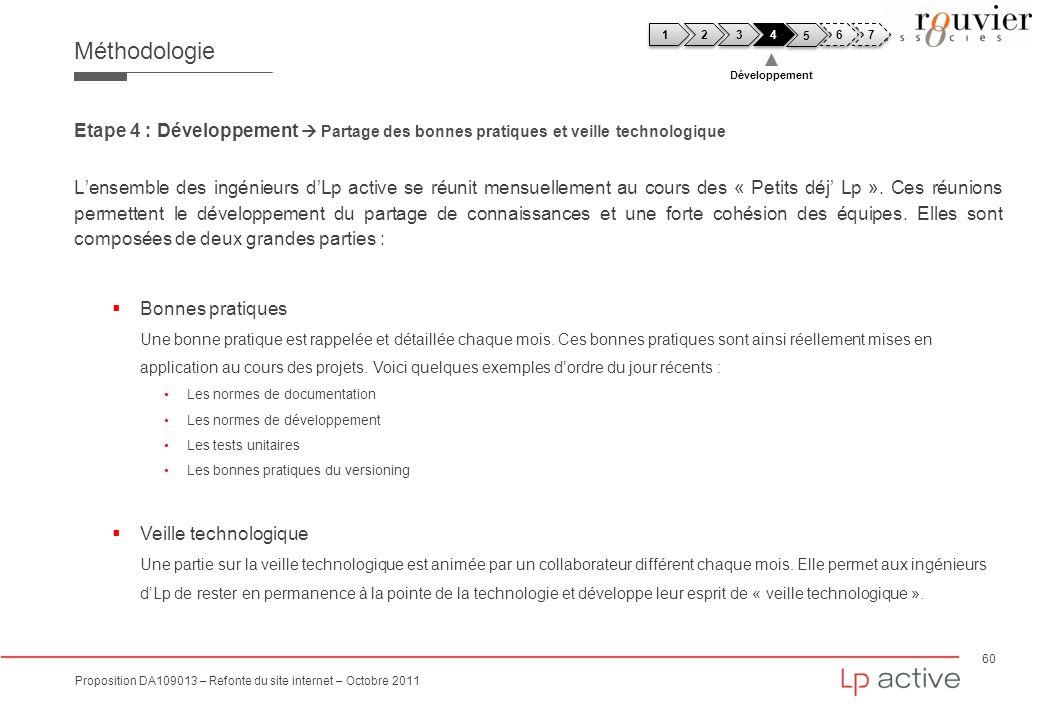 60 Proposition DA109013 – Refonte du site internet – Octobre 2011 Méthodologie Etape 4 : Développement Partage des bonnes pratiques et veille technolo
