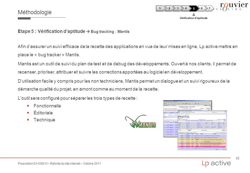 62 Proposition DA109013 – Refonte du site internet – Octobre 2011 Méthodologie Etape 5 : Vérification daptitude Bug tracking : Mantis Afin dassurer un