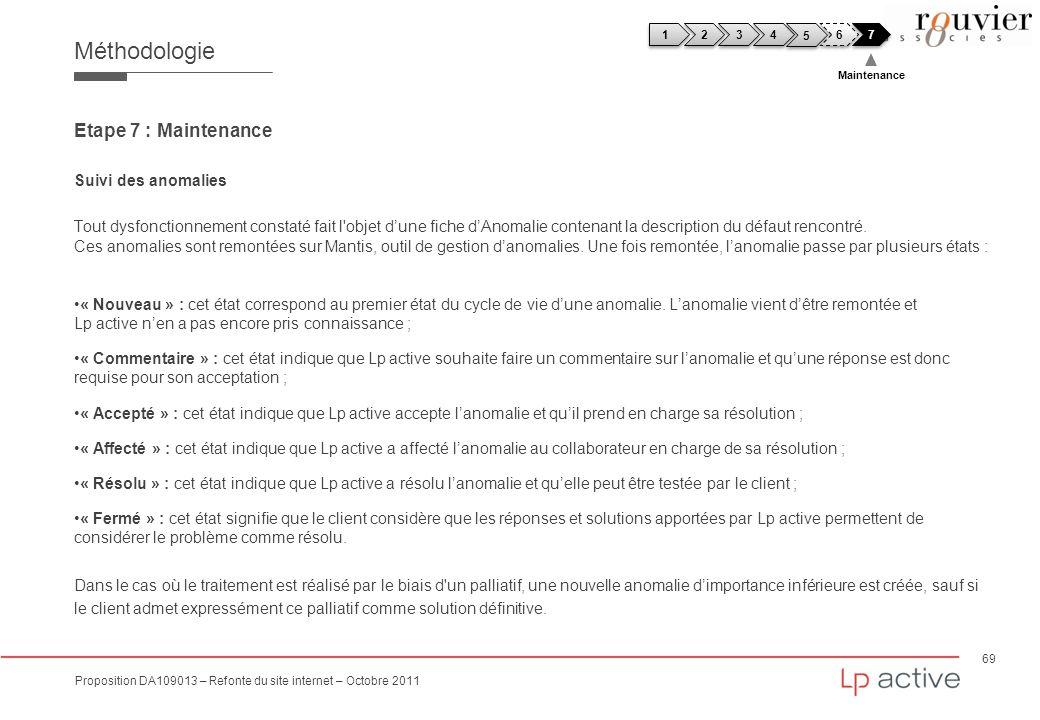 69 Proposition DA109013 – Refonte du site internet – Octobre 2011 Méthodologie Etape 7 : Maintenance Suivi des anomalies Tout dysfonctionnement consta