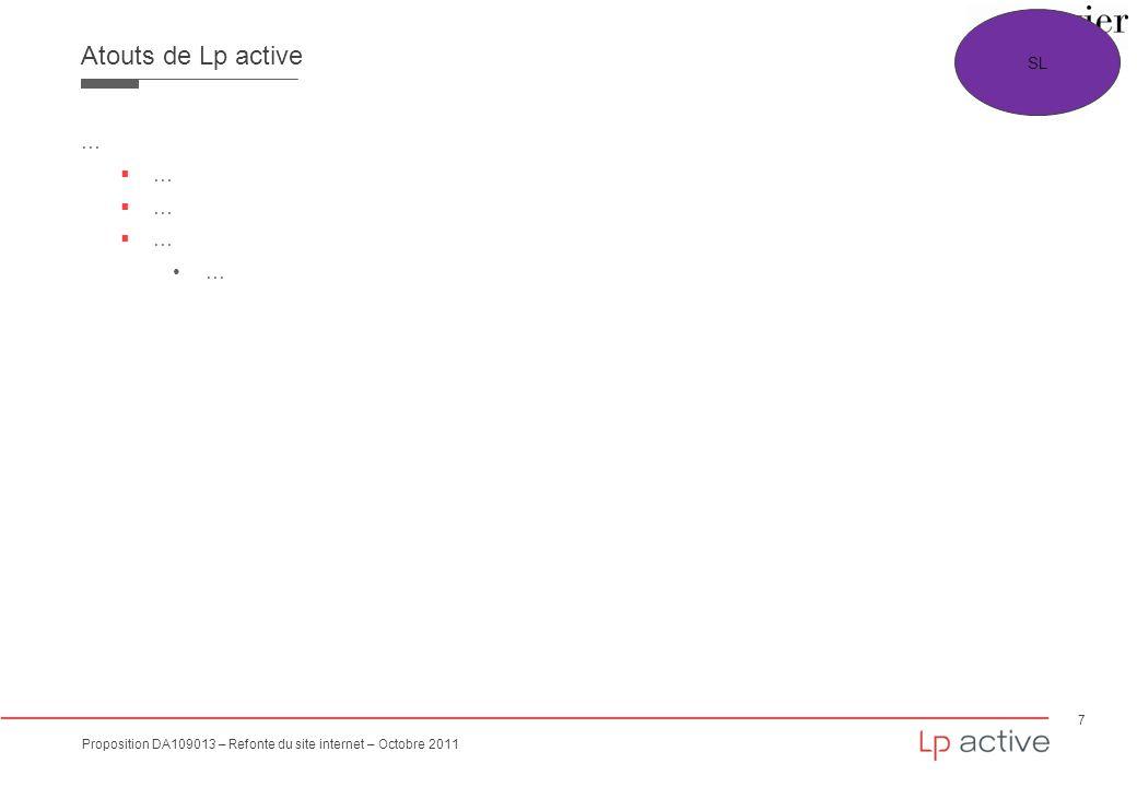 7 Proposition DA109013 – Refonte du site internet – Octobre 2011 Atouts de Lp active SL …