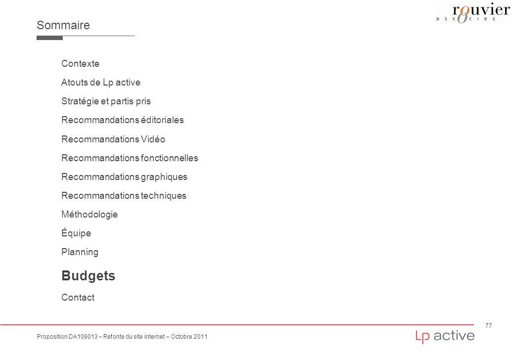 77 Proposition DA109013 – Refonte du site internet – Octobre 2011 Sommaire Contexte Atouts de Lp active Stratégie et partis pris Recommandations édito