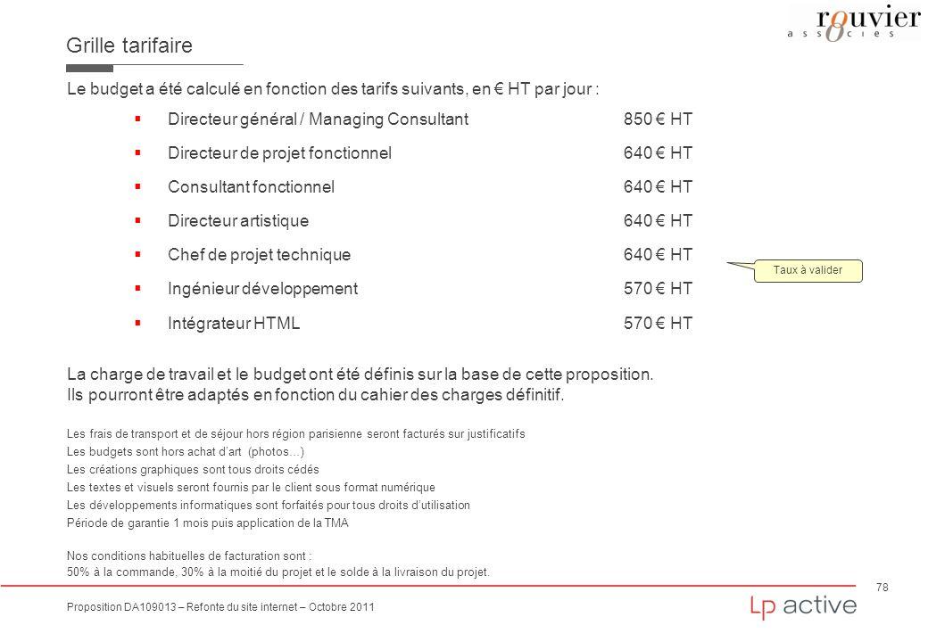 78 Proposition DA109013 – Refonte du site internet – Octobre 2011 Grille tarifaire Le budget a été calculé en fonction des tarifs suivants, en HT par