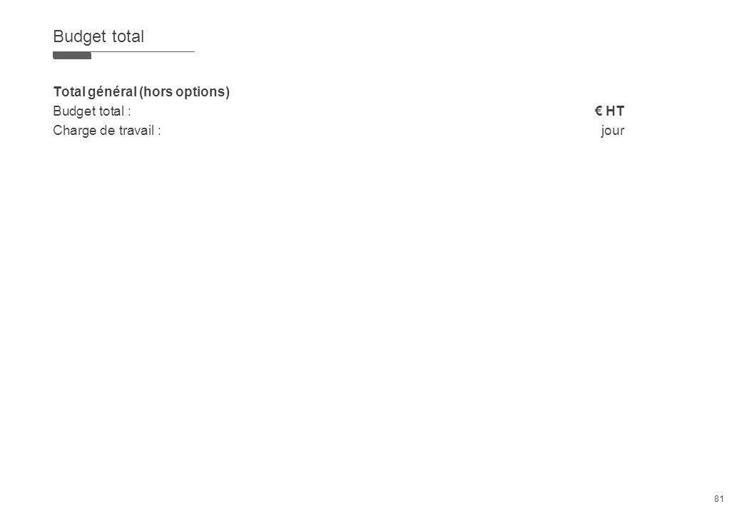 81 Budget total Total général (hors options) Budget total : HT Charge de travail : jour