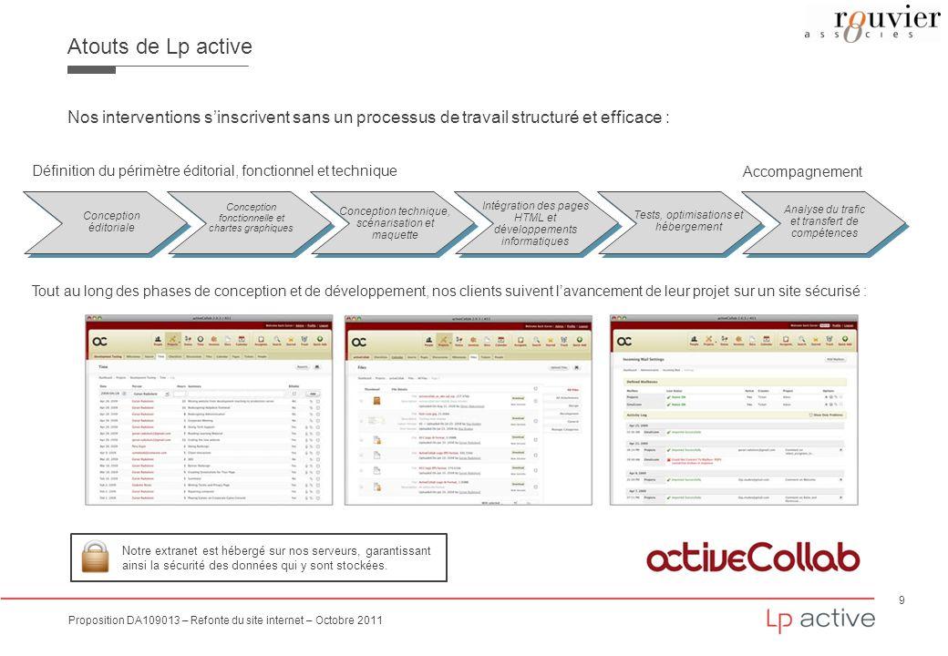 9 Proposition DA109013 – Refonte du site internet – Octobre 2011 Atouts de Lp active Nos interventions sinscrivent sans un processus de travail struct
