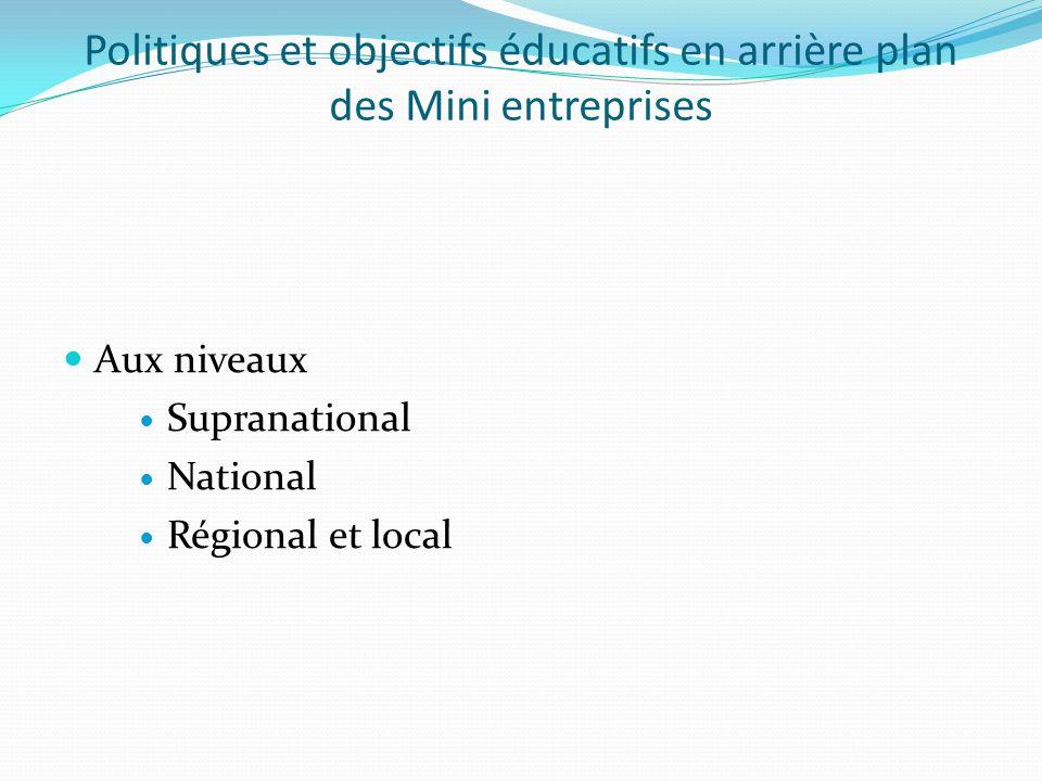 Politiques et objectifs éducatifs en arrière plan des Mini entreprises Aux niveaux Supranational National Régional et local