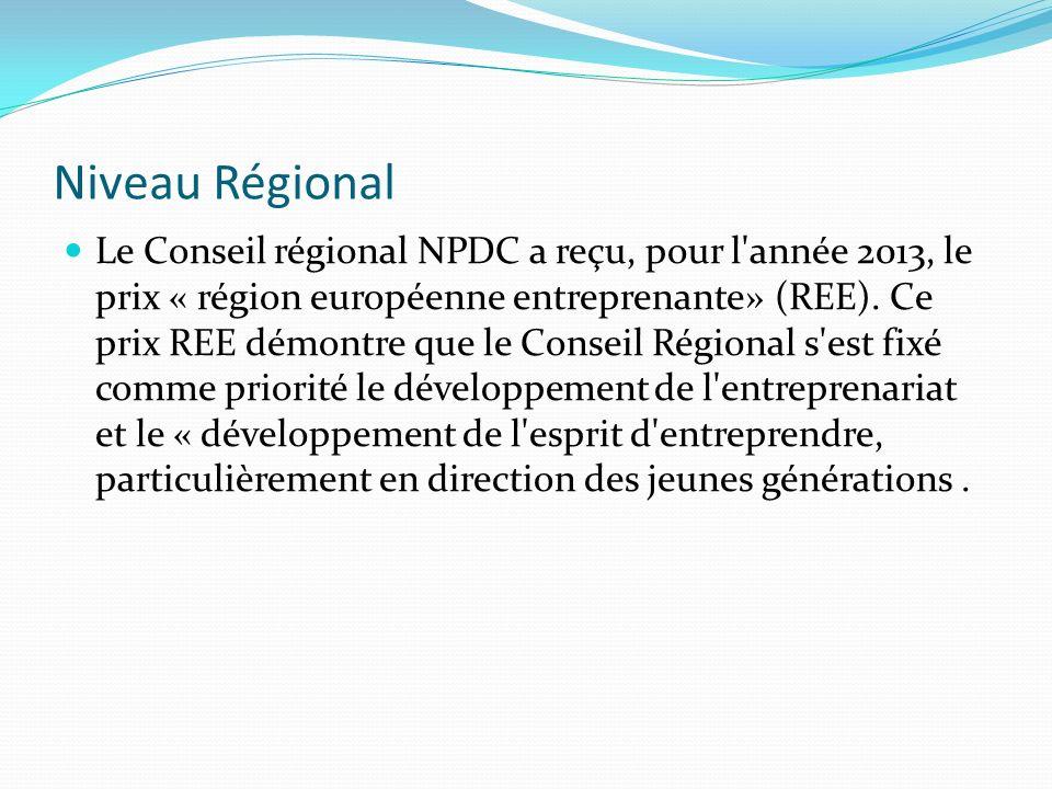 Niveau Régional Le Conseil régional NPDC a reçu, pour l année 2013, le prix « région européenne entreprenante» (REE).