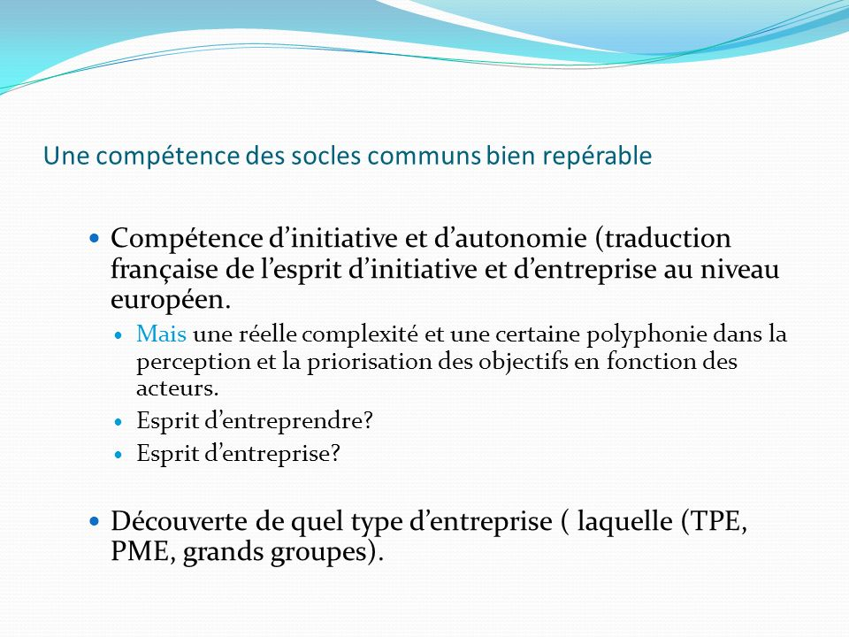 Une compétence des socles communs bien repérable Compétence dinitiative et dautonomie (traduction française de lesprit dinitiative et dentreprise au n