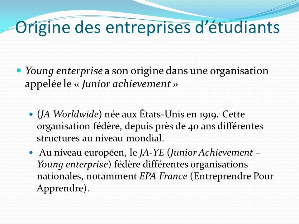 Origine des entreprises détudiants Young enterprise a son origine dans une organisation appelée le « Junior achievement » (JA Worldwide) née aux États-Unis en 1919..