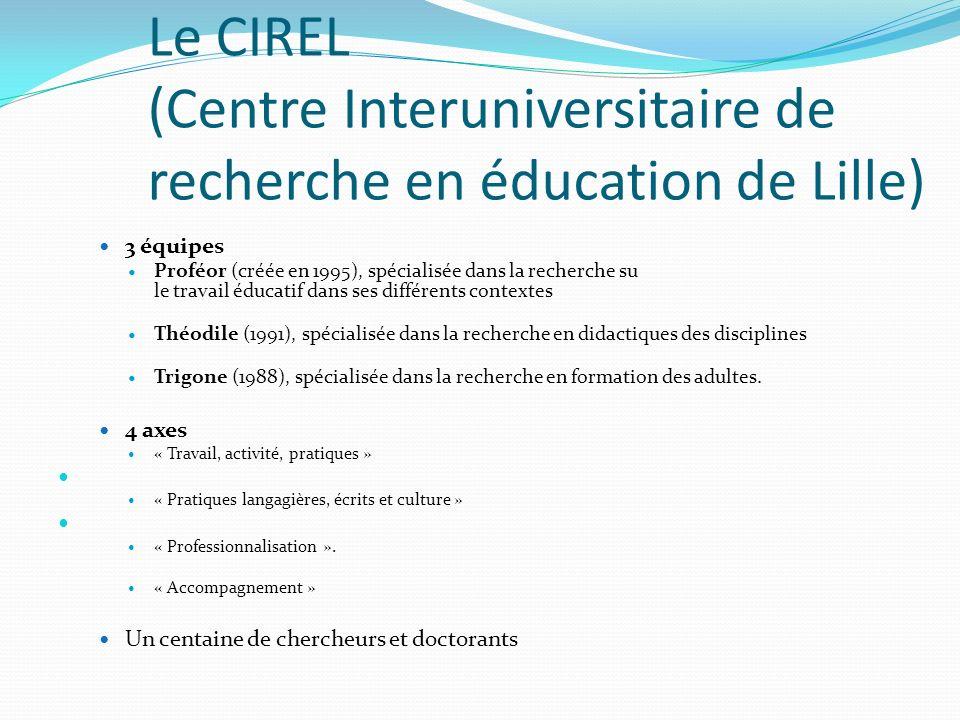 Le CIREL et lesprit dentreprendre Les recherches sur les relations écoles/entreprises, sur linsertion et lorientation, la professionnalisation, les pratiques daccompagnement et les éducations à, etc.