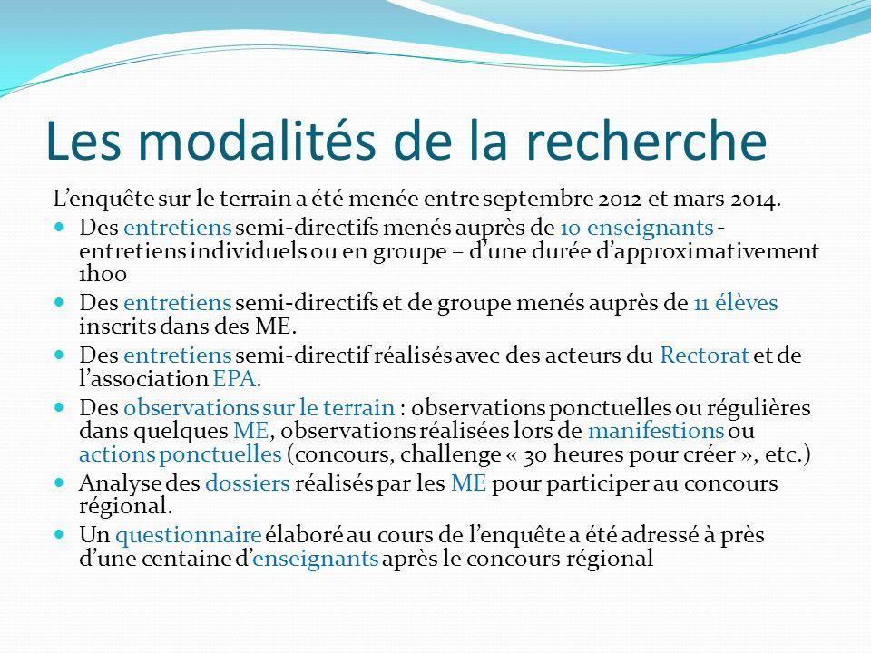 Les modalités de la recherche Lenquête sur le terrain a été menée entre septembre 2012 et mars 2014.