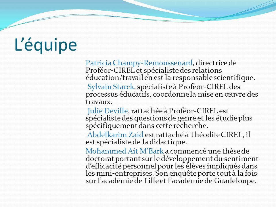 Léquipe Patricia Champy-Remoussenard, directrice de Proféor-CIREL et spécialiste des relations éducation/travail en est la responsable scientifique.