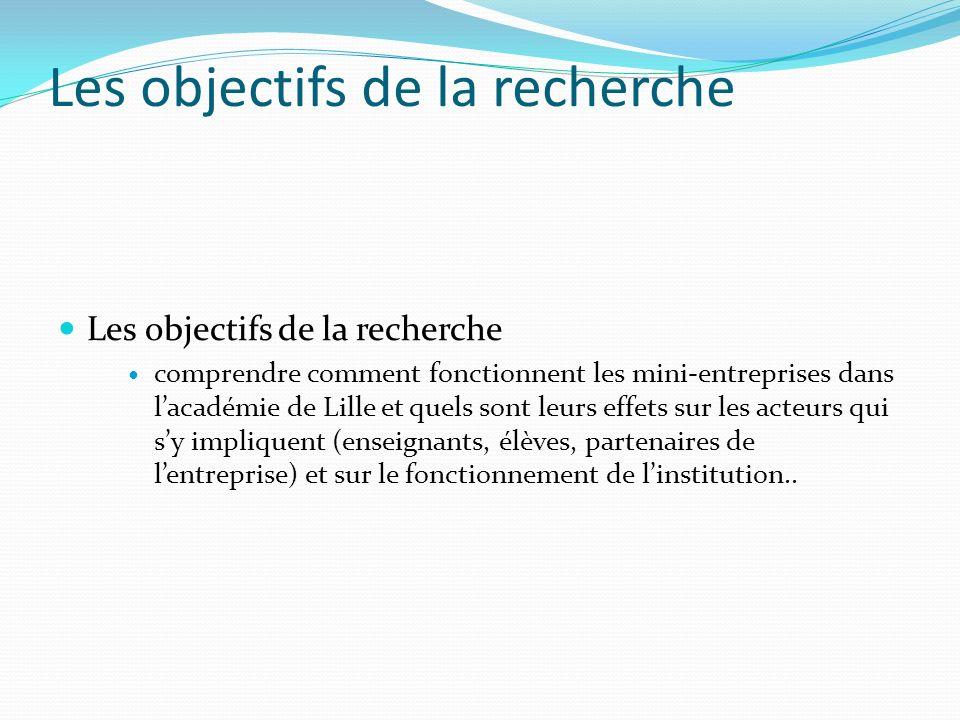 Les objectifs de la recherche comprendre comment fonctionnent les mini-entreprises dans lacadémie de Lille et quels sont leurs effets sur les acteurs qui sy impliquent (enseignants, élèves, partenaires de lentreprise) et sur le fonctionnement de linstitution..