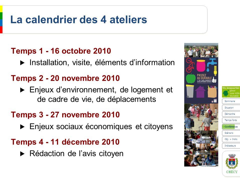 CHÉCY La calendrier des 4 ateliers Temps 1 - 16 octobre 2010 Installation, visite, éléments dinformation Temps 2 - 20 novembre 2010 Enjeux denvironnem