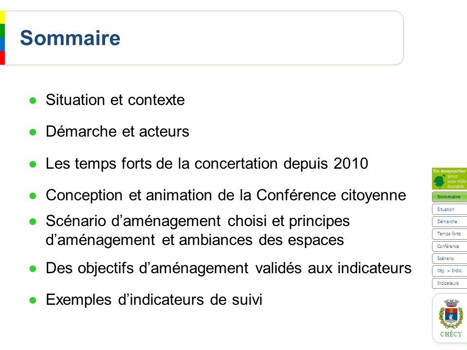 CHÉCY Scénario Principe daménagement et ambiances des espaces Conférence Temps forts Situation Sommaire Indicateurs Obj.