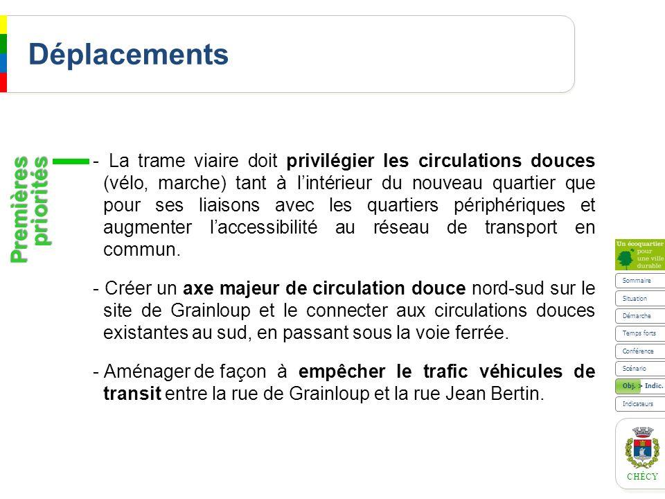 CHÉCY Déplacements - La trame viaire doit privilégier les circulations douces (vélo, marche) tant à lintérieur du nouveau quartier que pour ses liaiso