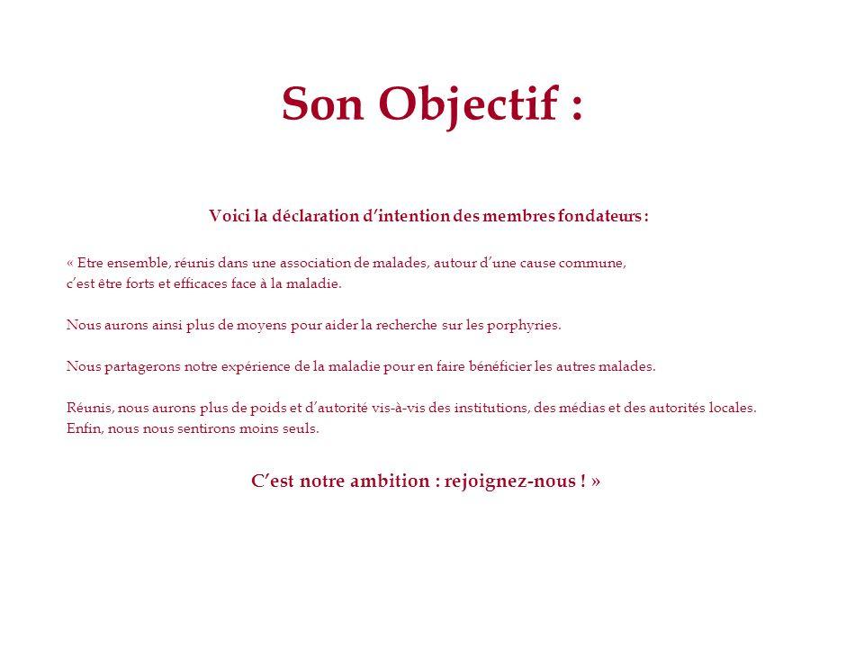 Objectif de lAssociation : Extrait des statuts : parution au journal officiel du 27 septembre 2008.